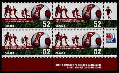Canada 2220 BR Plate Block MNH  World Cup Soccer