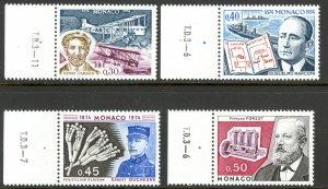 MONACO 1974 PIONEERS AND INVENTORS Set Sc 906-909 MNH