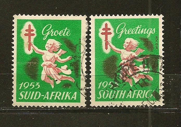 South Africa Pair of 1953 Greeting Stamps Used