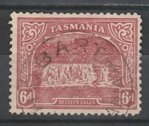 TASMANIA 1905 DILSTON WATERFALL 6D PERFIN T LITHO PERF 11 WMK CROWN/A USED