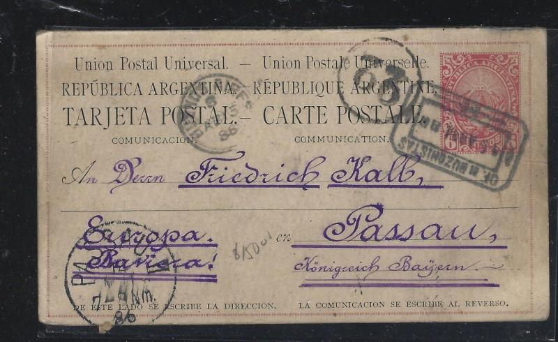 ARGENTINA (P2604B)  2886 REPLY 6C PSC SENT TO GERMANY WITH MSG NOT RETURNED