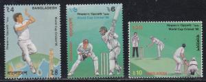 Bangladesh # 511-513, World Cup Cricket '96, NH, Half Cat