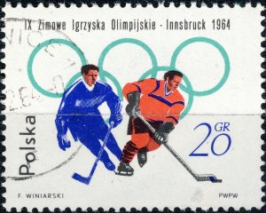 POLAND / POLEN - 1964 Mi.1457A 20gr Winter Olympics (Hockey) - VF Used (b)