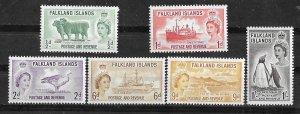 Falkland  # 122-27 QE II issues  1955-57  (6)  Mint NH