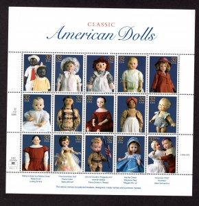 US 3151,  Sheet of 15, VF,  MNH,  American Dolls, CV $13.50 ..... 6785997