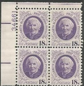 Scott #1399 MNH Elizabeth Blackwell Plate Block of 4