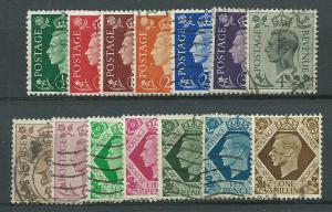 GB GV1  SG 462 - 475 14 stamps excludes Sg 474a) Used