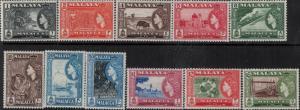 Malaya-Malacca 1957 SC 45-55 Mint SCV$ 56.20 Set