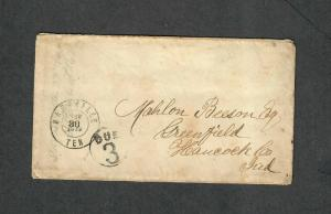Nashville Tenn May 30 1863 Soldiers Cover Stampless Due 3 Civil War Occ.
