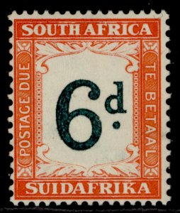 SOUTH AFRICA GVI SG D29a, 6d green & bright orange, M MINT. Cat £16.
