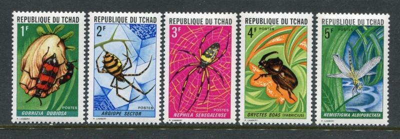 Chad 252-256, MNH, $15.65. Michel 510-514. Insects and spiders 1972. x24055