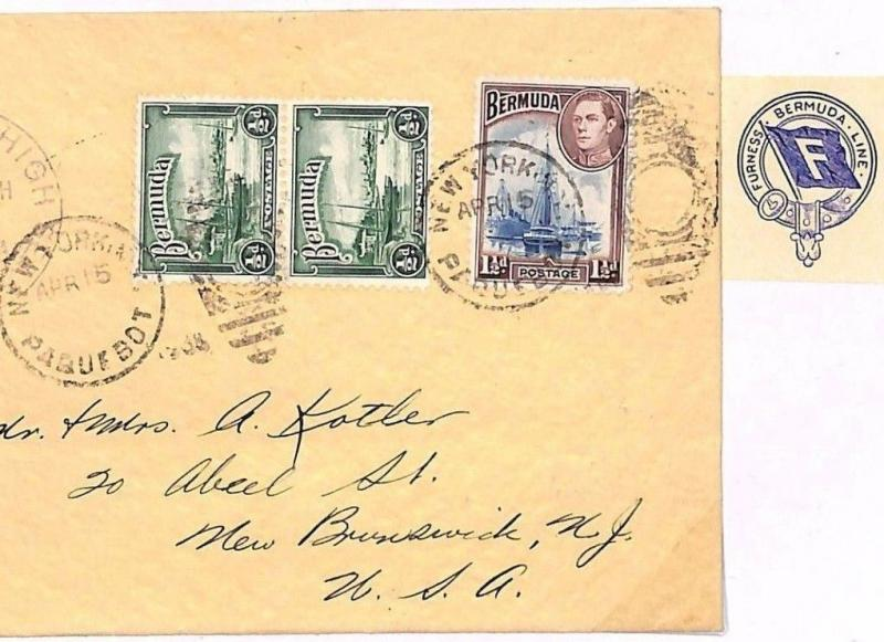 Q225 c1945 BERMUDA MARITIME *Furness Line* Cover Posted SS Monarch NY Paquebot