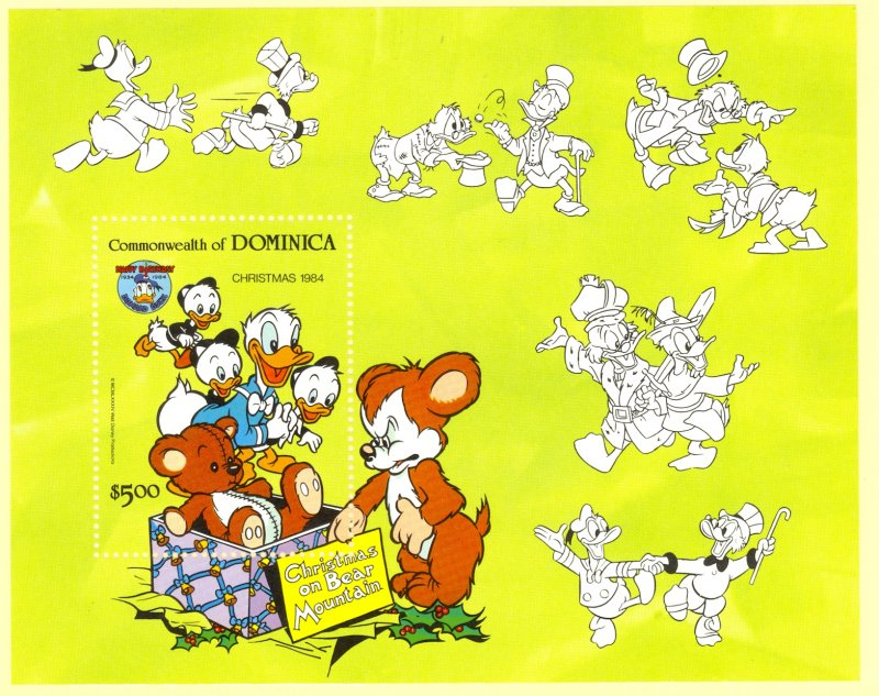 DOMINICA 1984 DISNEY DONALD DUCK CHRISTMAS Souvenir Sheet Sc 874 MNH