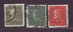 J22830 JLstamps 1921-37 sweden used #183,186-7 king