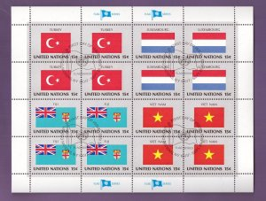 United Nations flags 1980 cancelled sheet 15ct Turkey Luxembourg Fiji Vietnam