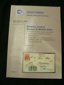 FELDMAN AUCTION CATALOGUE 2002 AUSTRIA LEVANT GREECE & MIDDLE EAST