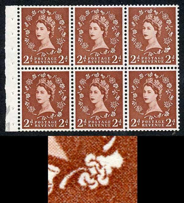 SB78d 2d Light Red-Brown Edward Wmk Booklet Pane Shamrock Flaw U/M
