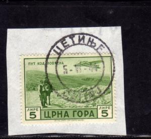 MONTENEGRO 1943 SERTO DELLA MONTAGNA POSTA AEREA AIR MAIL LIRE 5 USATO SU FRA...