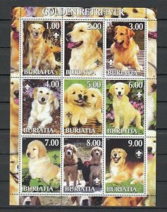 Buriatia, 2000 Russian Local.Golden Retriever sheet of 9.
