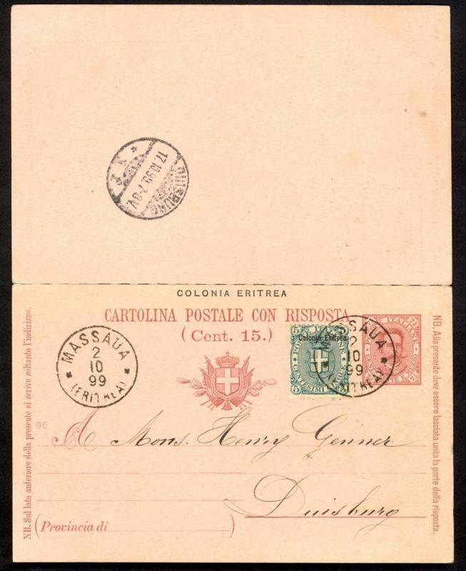 ERITREA 1899 7 1/2c + 7 1/2c POSTAL REPLY CARD Attached Mailed to Germany