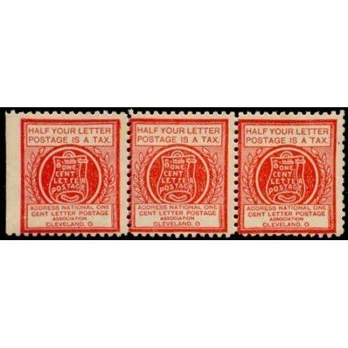 US - National One Cent Letter Postage Association Stamp - Type VIc Strip