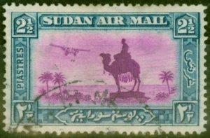 Sudan 1933 2 1/2p Magenta & Blue SG53cy Wmk Sideways Reversed, Top of G to Right