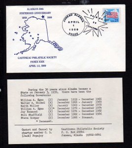Alaska 30th Statehood Anniversary 1989 State Map Juneau with Insert Stamp Cover