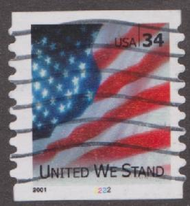 US #3550 United We Stand Used PNC Single plate #2222