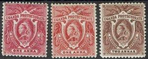 UGANDA 1898 QV ELEPHANTS 1A - BOTH SHADES AND 2A