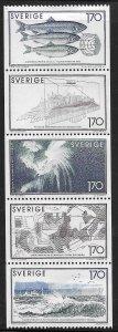 SWEDEN, 1299-1303, HINGED, BKLT PANE OF 5, SEA RESEARCH