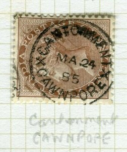 INDIA; POSTMARK fine used cancel on QV issue, Cawnpore Cant.