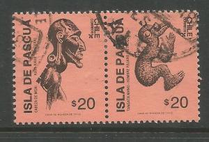 CHILE  781B  USED,  PAIR,  EASTER ISLAND FOLK ART