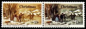 #1703e Var 13c Christmas 1976 Scarce Horiz Pair with Massive Color Errors *MNH*