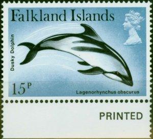 Falkland Islands 1980 15p Dusky Dolphin SG375w Wmk Crown to Right of CA V.F MNH