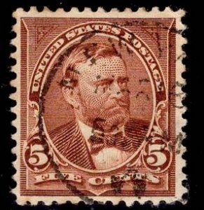 US Stamp #255 5c Chocolate Grant USED SCV $9.00