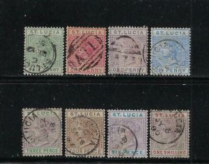 ST. LUCIA SCOTT #27a-33a/35/37a  1883-98 VICTORIA DEFINITIVES- DIE A- USED