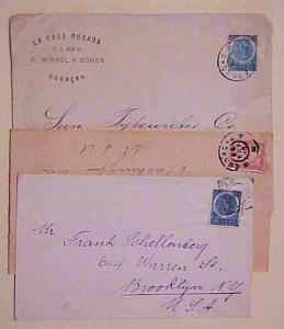 CURACAO 3 COVERS 1905-1918 TO USA