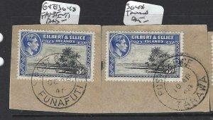 GILBERT & ELLICE IS(P0307B)KGVI  3D  SG 48X2 PIECES FUNAFUTI,TARAWA SON CDS VF