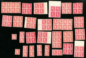 US Stamps # 482 XF Lot of 100 Many Line Pairs OG NH Scott Value $270.00
