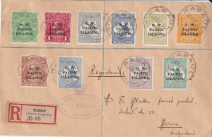 PNG621) New Guinea NWPI 1917 registered & censored cover to Switzerland