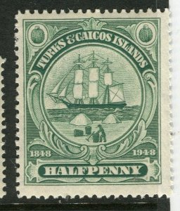 TURKS CAICOS ISLANDS; 1948 early GVI issue fine Mint hinged 1/2d. value
