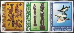 New Caledonia - So. Pacific Arts Strip of 3 Stamps - Scott 769 14L-003
