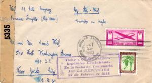 Dominican Republic 3c Bananas and 10c Airplane 1943 Ciudad Trujillo, Republic...