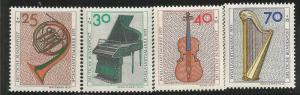 GERMANY B503-B506, MNH, MUSICAL INSTRUMENTS