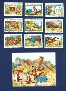 ANGUILLA - # 511-520 - VFMNH set & S/S - Winnie The Pooh, AA Milne 1982
