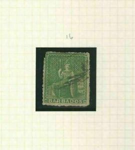 BARBADOS SG 16 YELLOW- GREEN  1860   USED CAT £650+