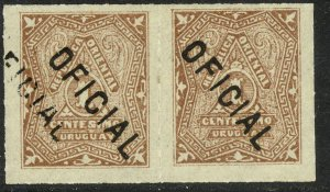 URUGUAY 1880-82 1c Red Brown OFFICIAL Pair 1 with DOUBLE OVERPRINT Sc O1 MLH