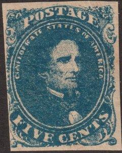 Sc 4a Confederate States of America Jefferson Davis 5¢ MNH CV $275.00 dk blue 2