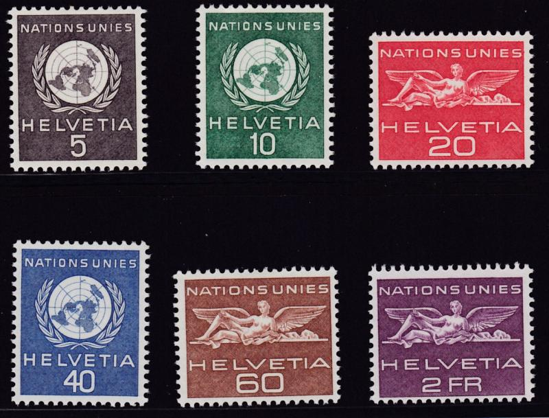Switzerland 1955 United Nations European Office (6) basic set in XF/NH Condition