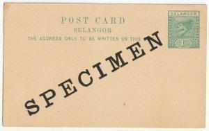 Malaya Selangor SPECIMEN 1c Tiger Pre-Stamped Postcard M2267